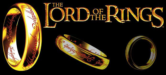 The Lord of the Rings logo and a few rings.