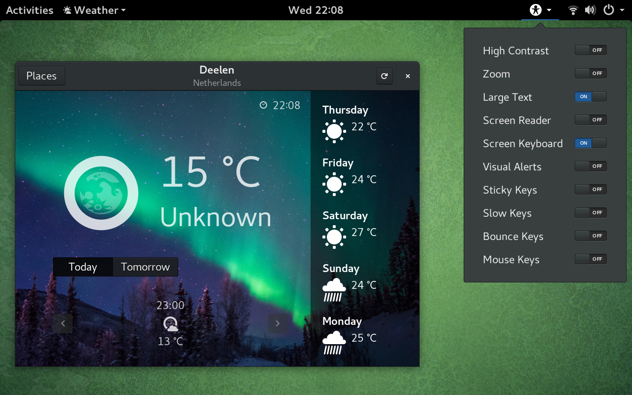 GNOME Weather and universal access menu