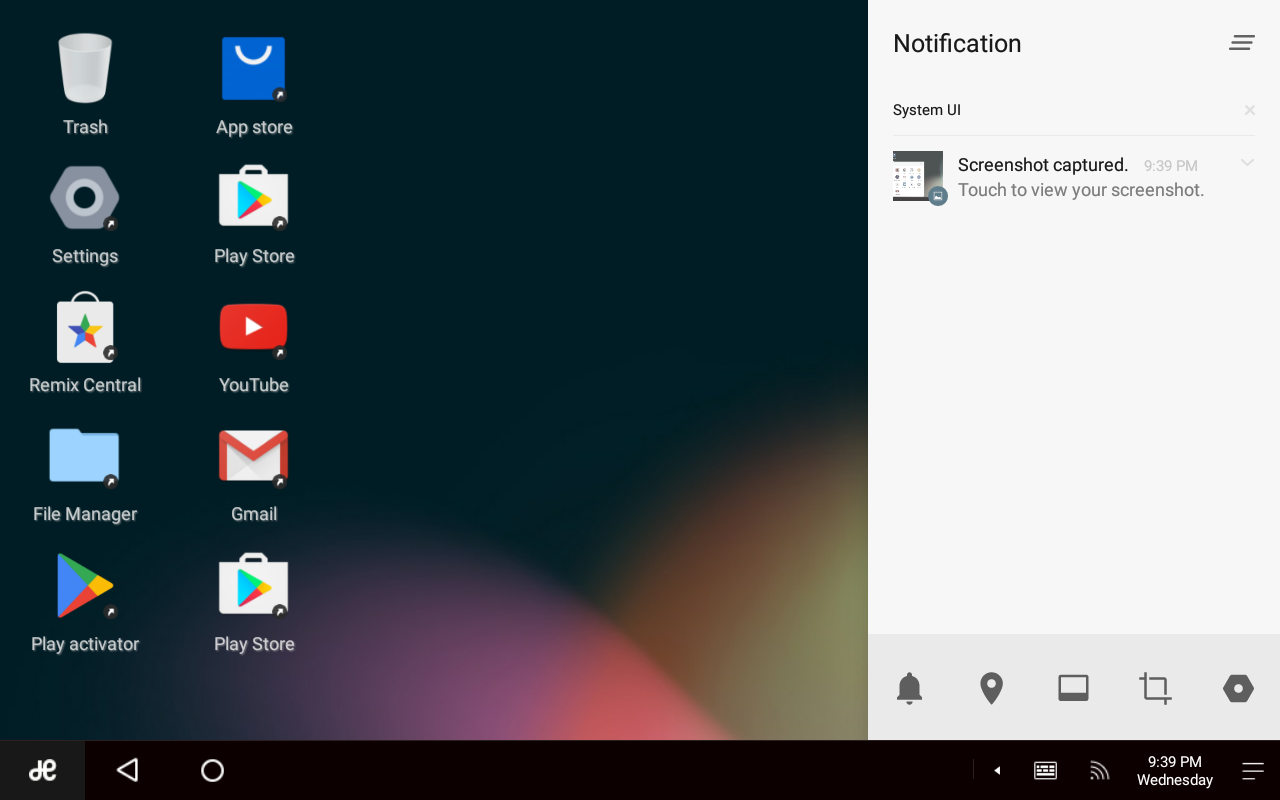Remix OS notification tray, accessed through the three-lines tray icon
