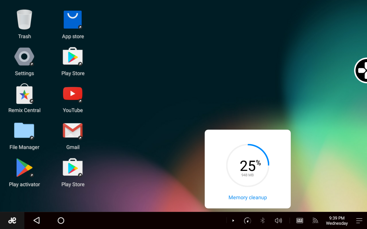 Remix OS system tray, showing the memory applet